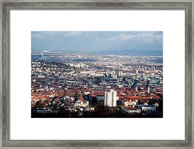 View On Stuttgart From Birkenkopf Framed Print by Frank Gaertner