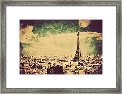 View On The Eiffel Tower And Paris France Retro Vintage Style Framed Print