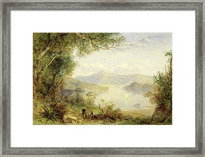 View On The Hudson River, Thomas Creswick Framed Print by Litz Collection