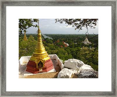 Framed Print featuring the photograph View Over Ancient City Of Mandalay Aungmyaythazan From Mandalay Hill Mandalay Burma by Ralph A  Ledergerber-Photography