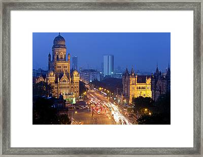 View Over Victoria Terminus Or Framed Print by Peter Adams