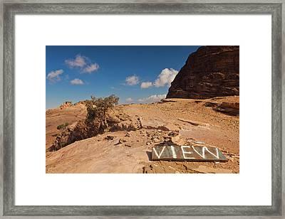 View Point Sign, Ad Deir Monastery Framed Print