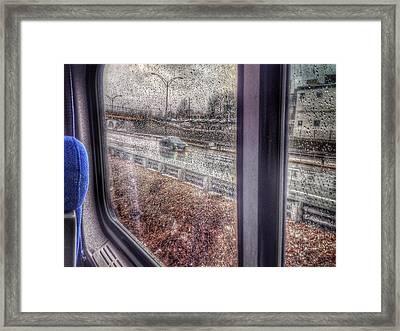 View Through Rainy Train Window Framed Print by David Burk