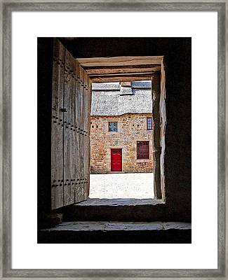 View Through The Old Door Framed Print by Gill Billington