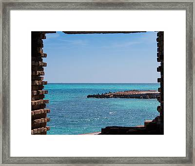View Through The Walls Of Fort Jefferson Framed Print by John M Bailey