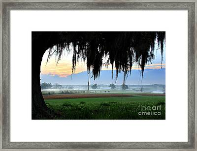 View To A Sunrise Framed Print by Leslie Kirk