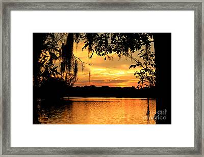 View To A Sunset Framed Print by Leslie Kirk