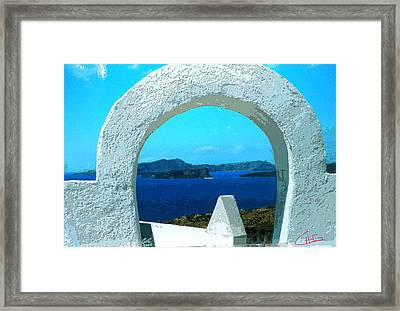 View To Thirasia Island From Santorini Island Greece Framed Print