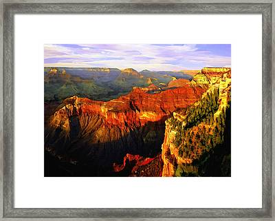 View - Yavapai Point Framed Print by Bob and Nadine Johnston