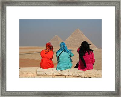 Framed Print featuring the photograph Viewing The Pyramids by Laurel Talabere