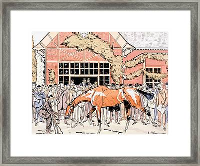 Viewing The Racehorse In The Paddock Framed Print by Thelem