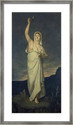Vigilance, 1867 Oil On Canvas Framed Print by Pierre Puvis de Chavannes