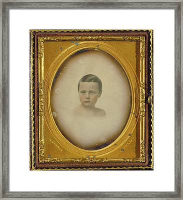 Vignette Portrait Of A Young Boy Jeremiah Gurney Framed Print by Litz Collection