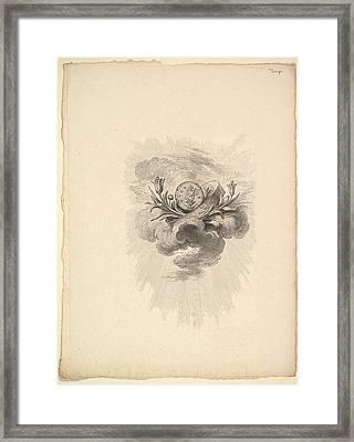 Vignette With A Medal Depicting Framed Print by Augustin de Saint-Aubin