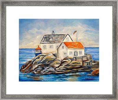 Vikeholmen Lighthouse II Framed Print by Carol Allen Anfinsen