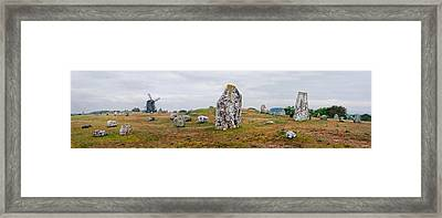 Viking Burial Site And Wooden Windmill Framed Print