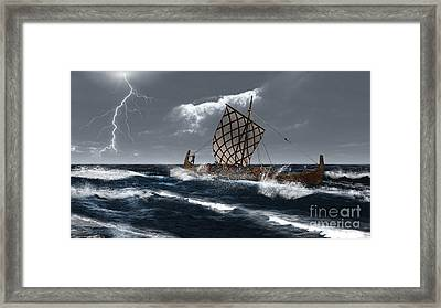 Viking Longship In A Storm Framed Print by Fairy Fantasies
