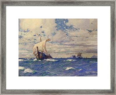 Viking Ships At Sea Framed Print by Pg Reproductions