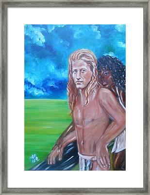 Vikings In America B.h.  - Interracial Lovers Series Framed Print
