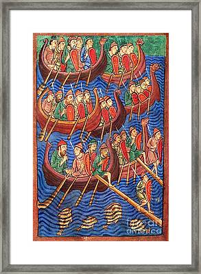Vikings Invade England 9th Century Framed Print by Photo Researchers