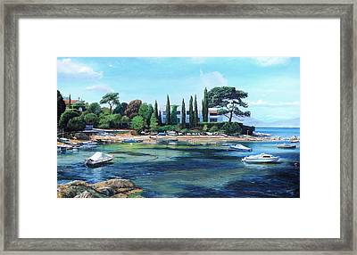 Villa And Boats, South Of France Oil On Canvas Framed Print