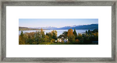 Villa At The Waterfront, Lake Zurich Framed Print by Panoramic Images