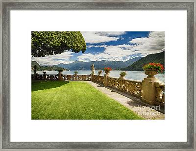 Villa Garden View On Lake Como Framed Print by George Oze