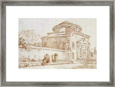 Villa Sacchetti, Rome Red Chalk On Paper Framed Print by Hubert Robert