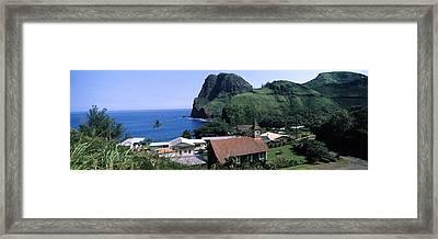 Village At A Coast, Kahakuloa, Highway Framed Print by Panoramic Images