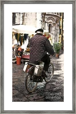 Village Biker Of Lucca Framed Print