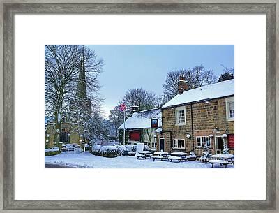 Village Church And Pub Framed Print by David Birchall