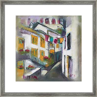 Village Corner Framed Print by Becky Kim