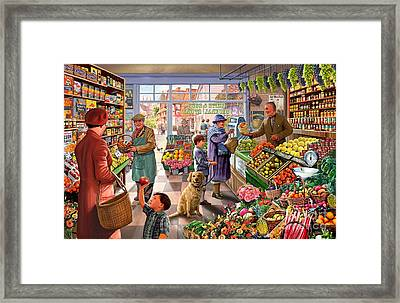 Village Greengrocer  Framed Print by Steve Crisp