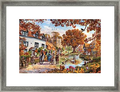 Village In Autumn Framed Print by Steve Crisp