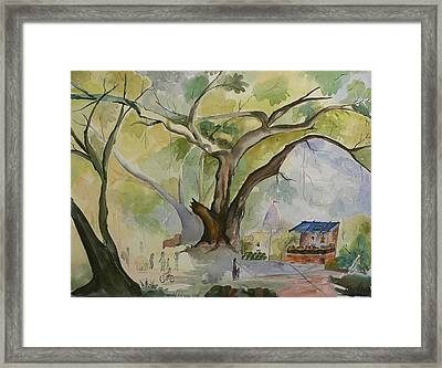 Framed Print featuring the painting Village In India by Geeta Biswas