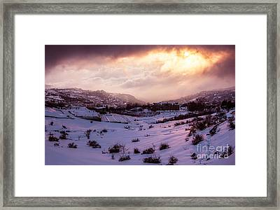 Village In Mountains Framed Print by Anna Om