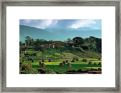 Village In Nepal Framed Print by Wernher Krutein