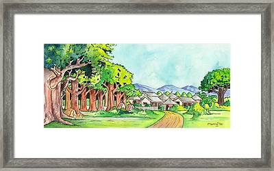 Village In The Forest Framed Print by Anthony Mwangi