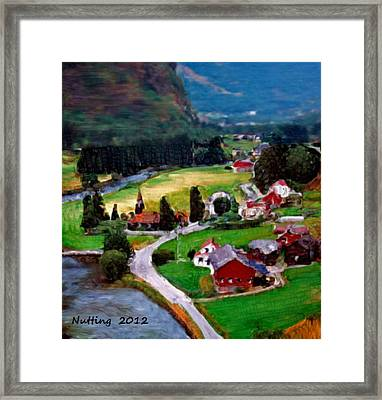 Framed Print featuring the painting Village In The Mountains by Bruce Nutting