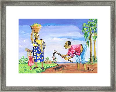 Framed Print featuring the painting Village Life In Cameroon 01 by Emmanuel Baliyanga