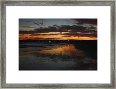 Village Lights At Sunset Framed Print