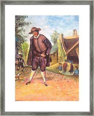 Framed Print featuring the painting Village Man  by Egidio Graziani