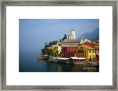 Village Near The Water With Alps In The Background  Framed Print