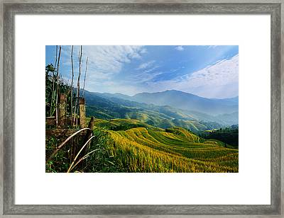 Framed Print featuring the photograph Village Of Mist 11 by Afrison Ma