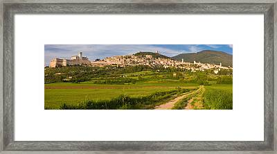 Village On A Hill, Assisi, Perugia Framed Print