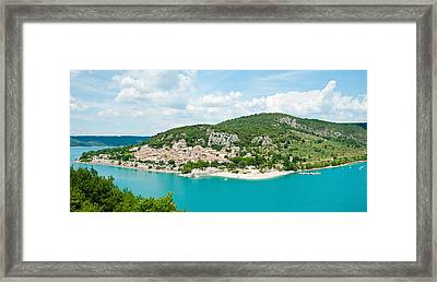 Village On A Hill At The Lakeside Framed Print