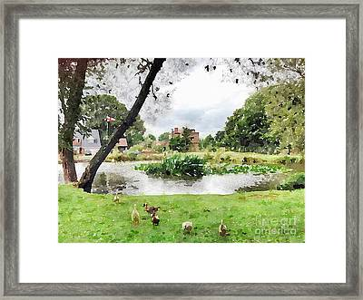 Village Pond Watercolor Framed Print by John Edwards