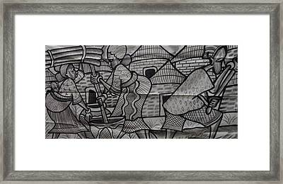 Village Scene Episode Two On Black And White Painting. Framed Print