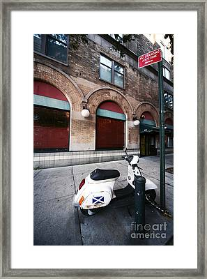 Village Scooter Framed Print by John Rizzuto