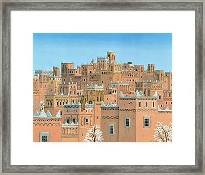 Village, Southern Morocco, 1998 Acrylic On Linen Framed Print